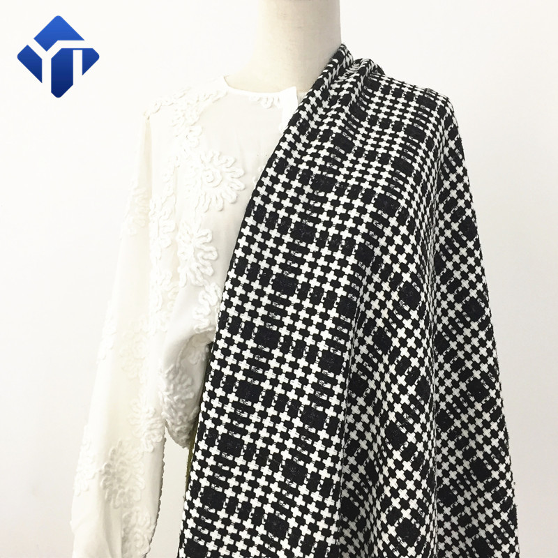 Customized multi-color polyester viscose tweed plaid fabric for women suit