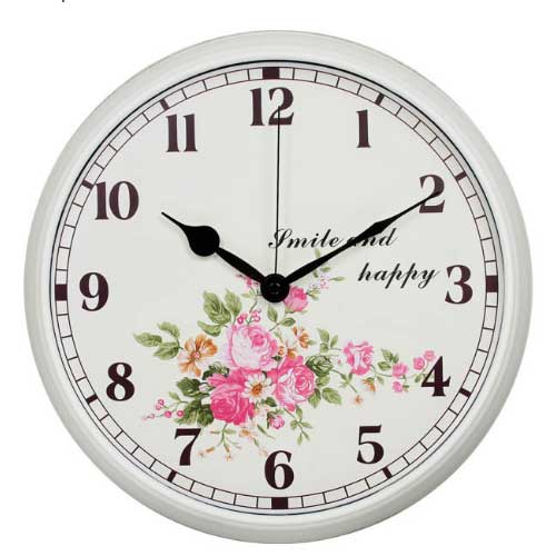 Modern Colorful Floral Silent Non-ticking Wall Clock- 12 Inches