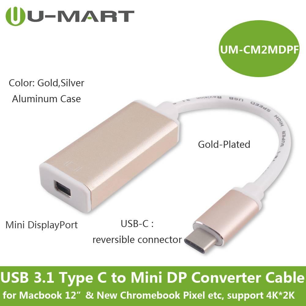 USB 3.1 Type C (USB-C) M to Mini DP F Converter Cable--Aluminum Case