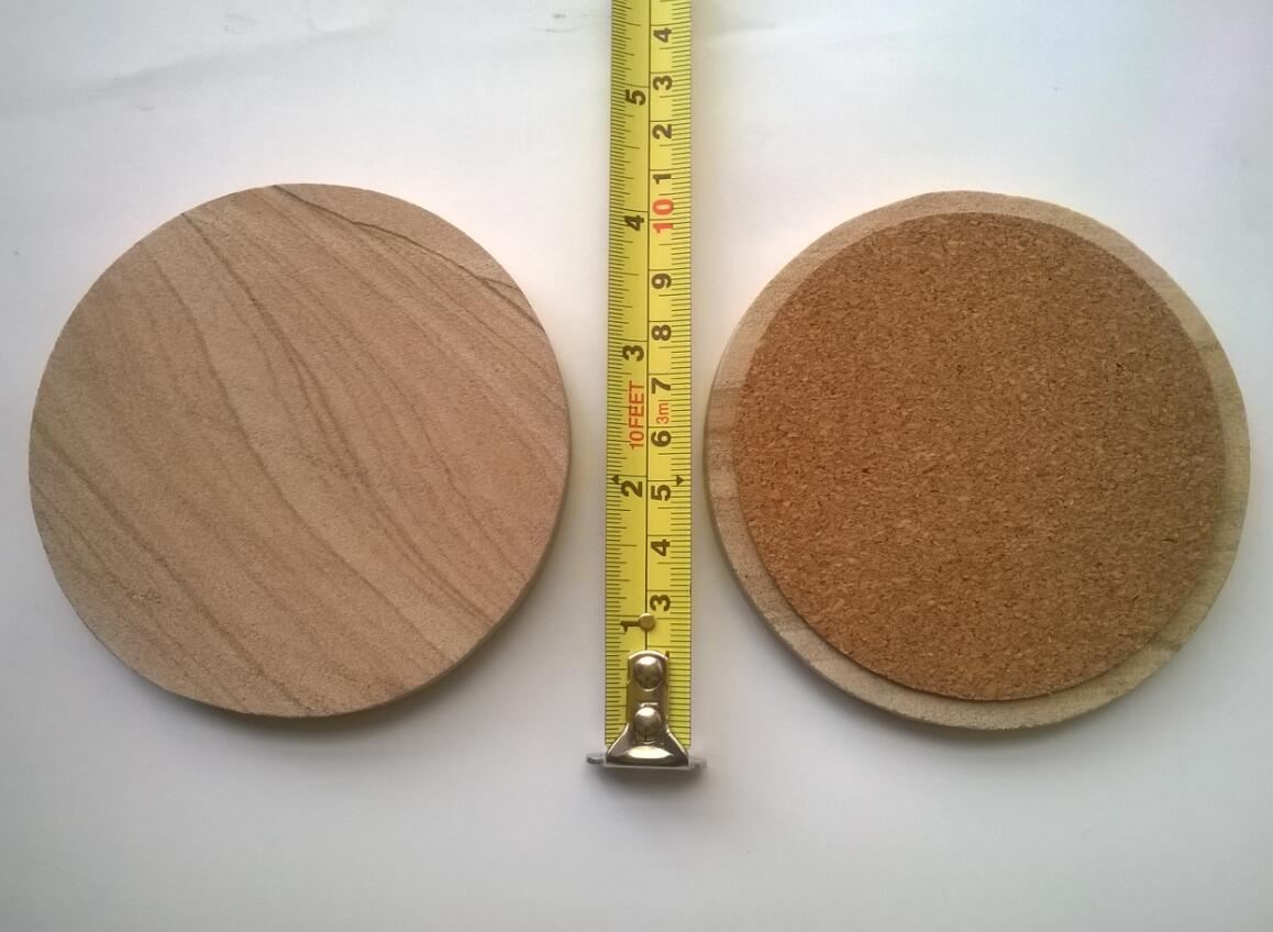 10cm diameter Sandstone Round Coaster with cork backing