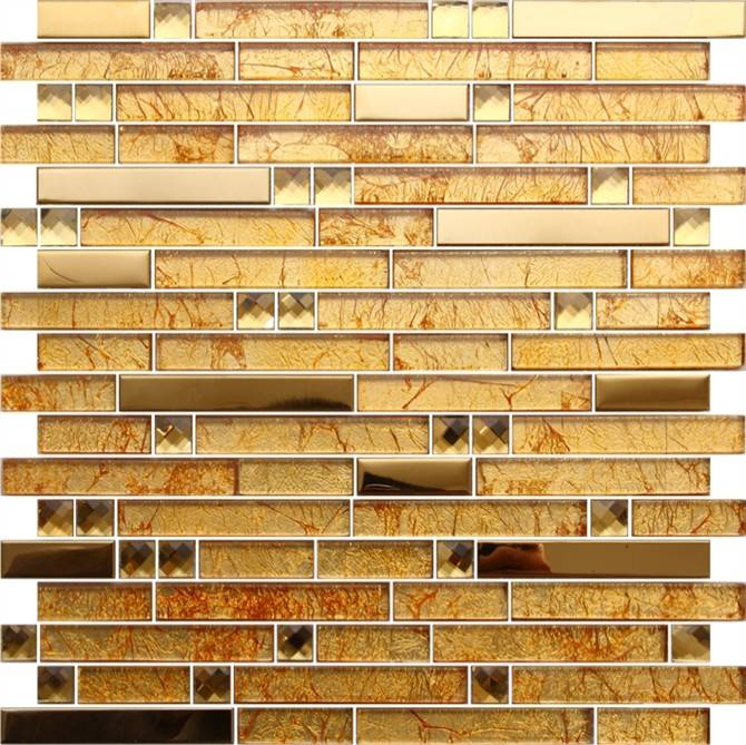 Gold Color Glass Mosaic Tile for Interior Wall Decoration
