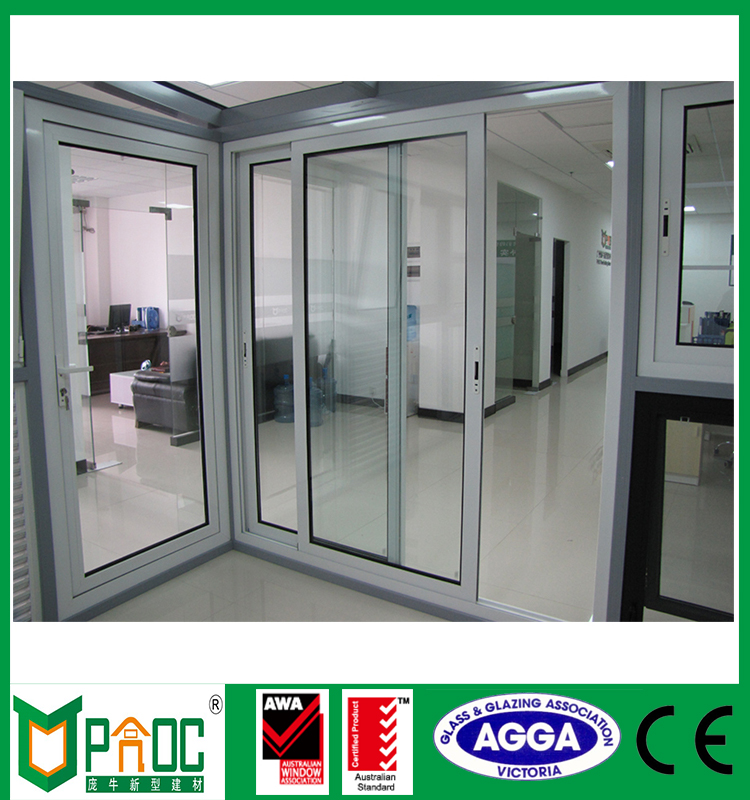 5mm-9A-5mm double tempered glass aluminum internal french sliding doors