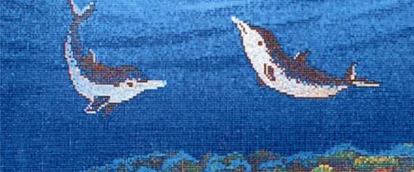swimming pool glass mosaic dolphin medallion