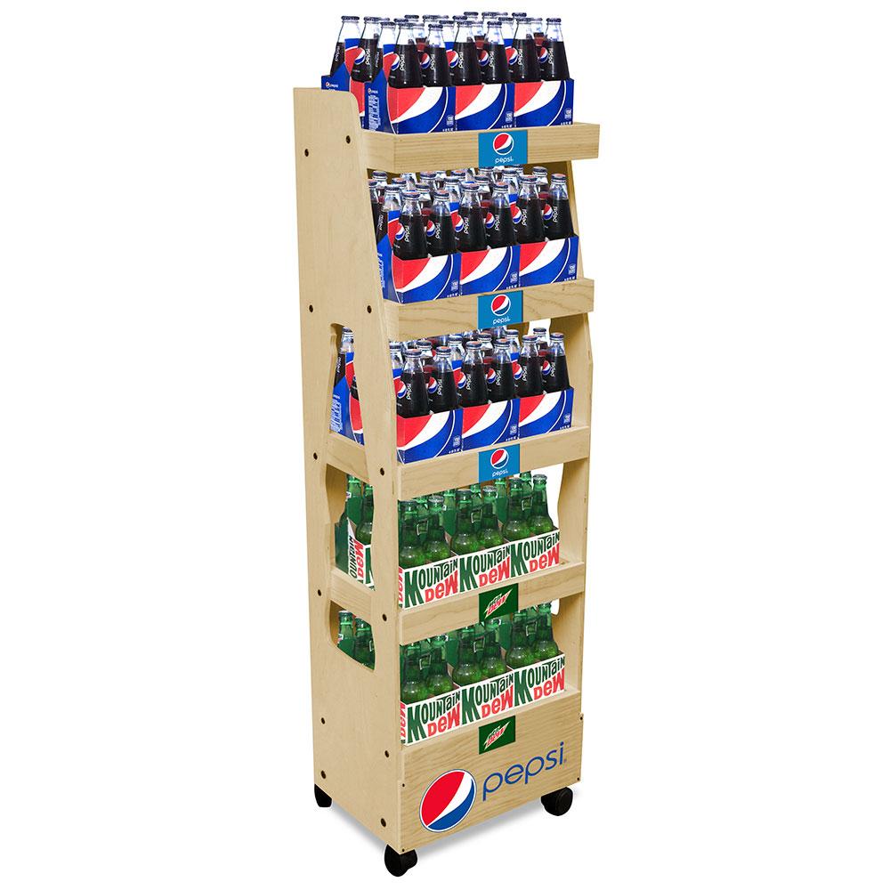 Floor standing solid wood soft drink retail display rack wooden beverage display stand with logo