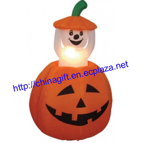 1.2M Animated Halloween Inflatable Pumpkin and Ghost