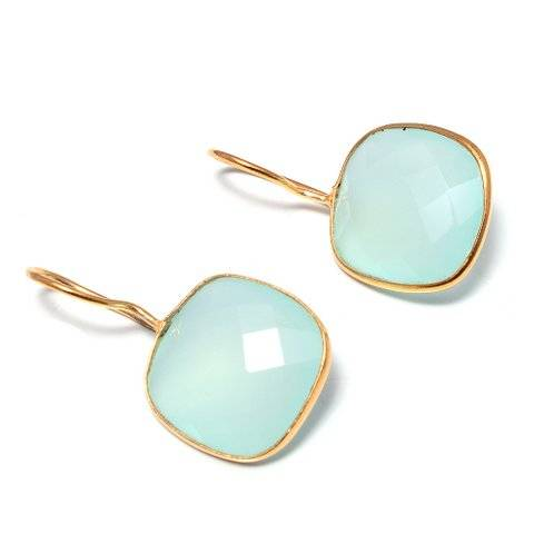 925 sterling silver Aqua Chalcedony Gemstone Earring-Vermeil Gold