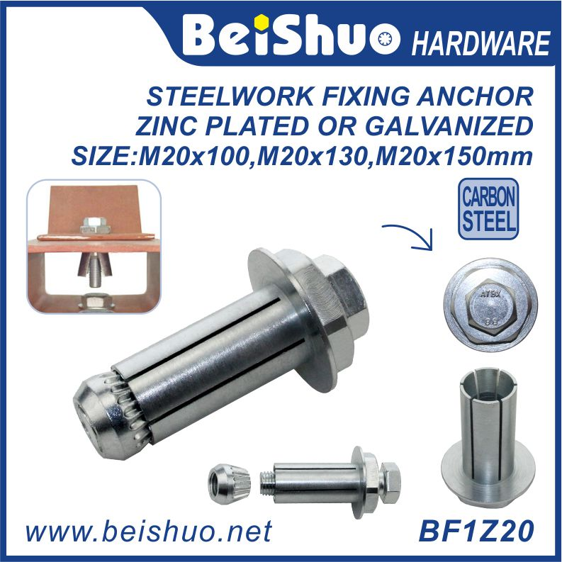 BF1Z20 M20 Galvanized & Zinc External Hex Expansion Flange Bolt
