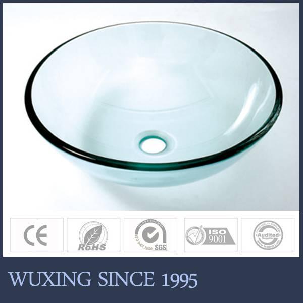 polished tempered glass round basin modern bathroom wash