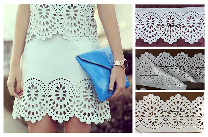 White color fabric pattern laser cutting machine