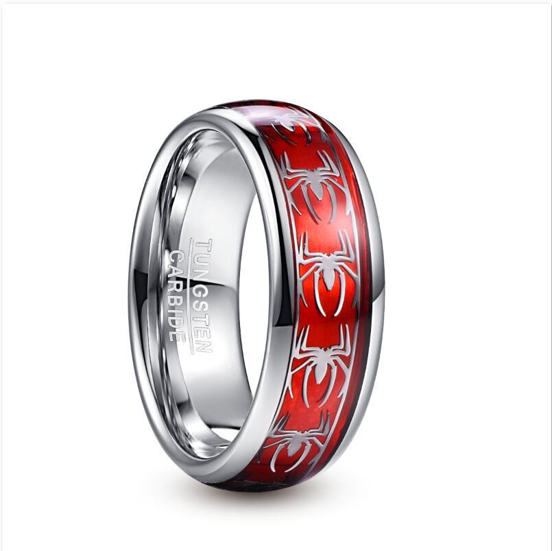 2019 NUNCAD 8mm Wide Inlaid Red Opal Paper + Spider Motif Tungsten Steel Men's Ring Wedding Band