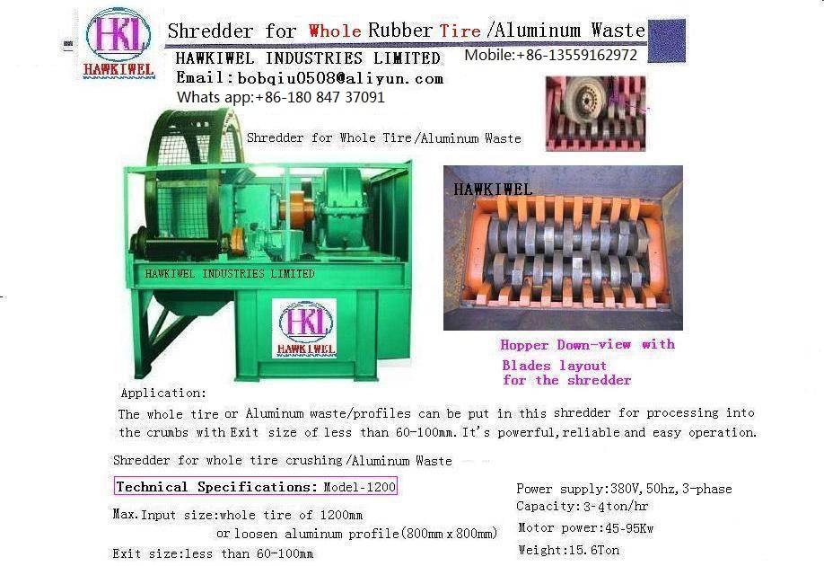 whole tires shredder