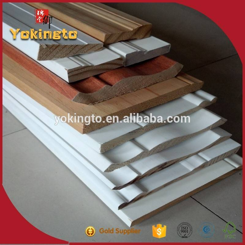Decorative white primed wood picture rail moulding