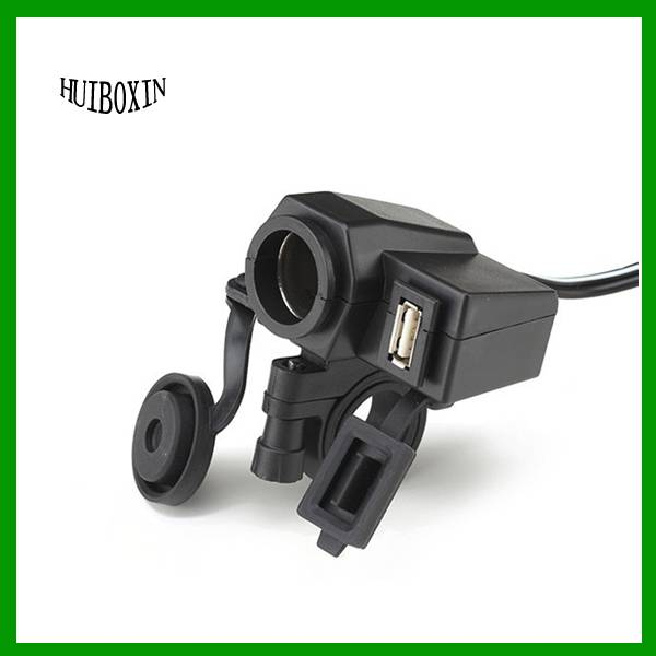 Motorcycle Waterproof 12V Cigarette Lighter USB Power Port Outlet Socket Charger