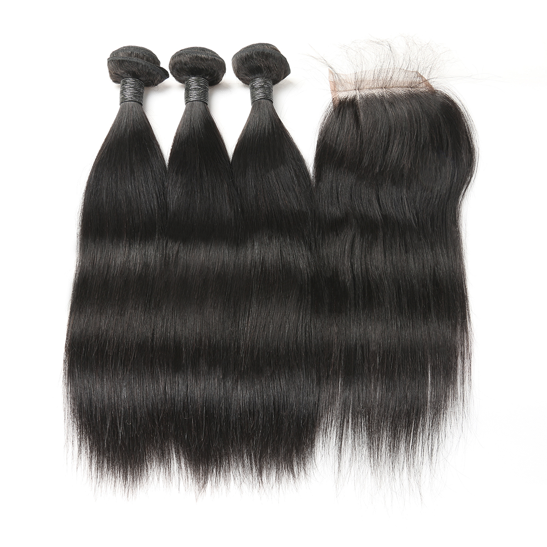 9A Brazilian Straight Human Virgin Hair Weave 4 Bundles With Lace Closure