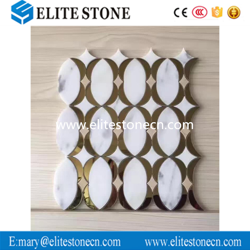 Best selling round brass and white marble mosaic of China National Standard