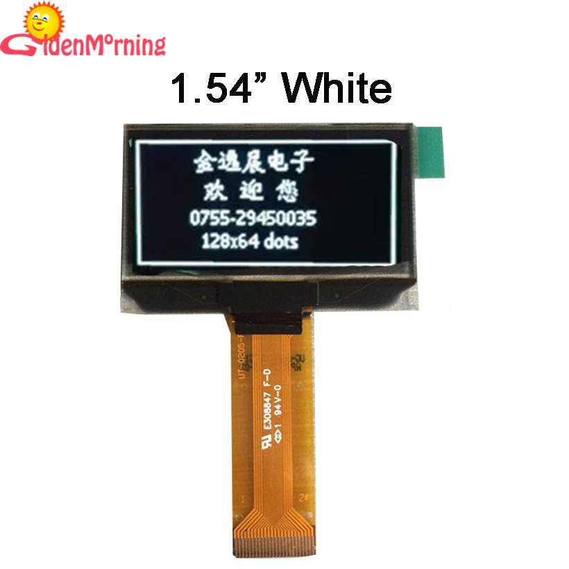 1.54 inch OLED display with white text,128x64 resolutions