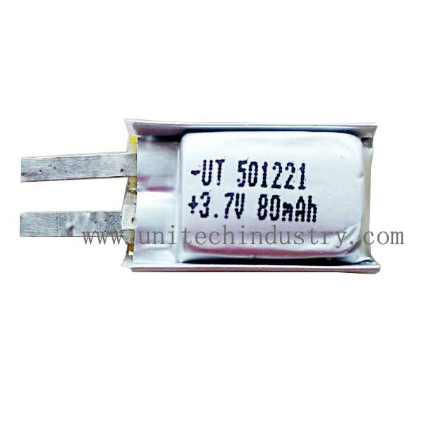 Good quality small lipo 501221 Lithium Polymer Battery With 80mAh