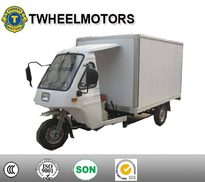 cargo tricycle with closed cargo box, isolated box, three wheel