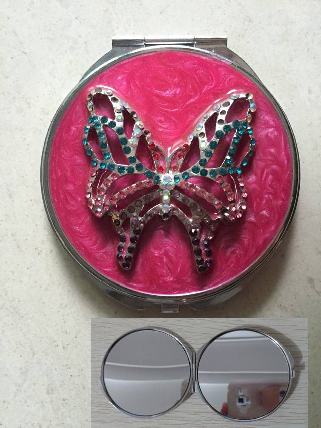 Diamonded Butterfly Epoxy Compact Mirror