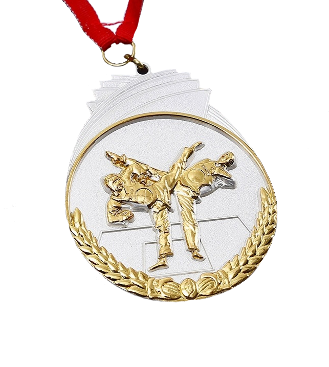 gold and silver plated 3d fist logo taekwondo medal
