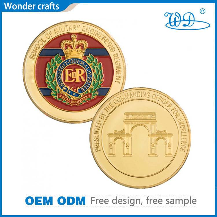 2d engraving iron imitation gold reeded edge soft enamel military school challenge coins