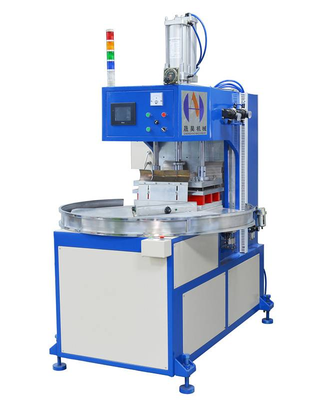Auto-turntable 3 working stations high frequency welding and cutting machine