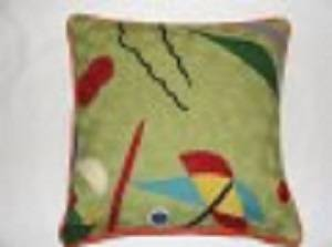 Crewel Chainstitch Pillow Aquafauna Multi Cotton (20x20)
