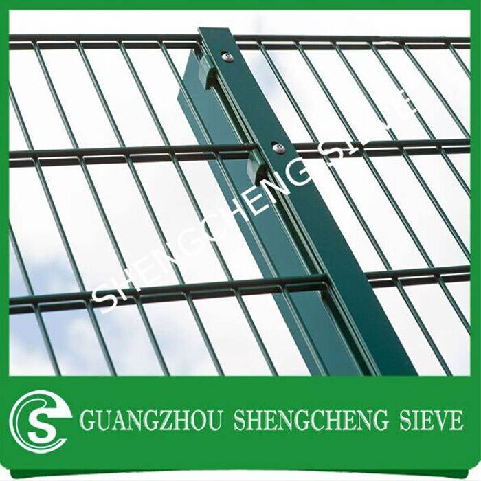 Export UK security yard fence dark green heavy welded wire twin wire panel fencing