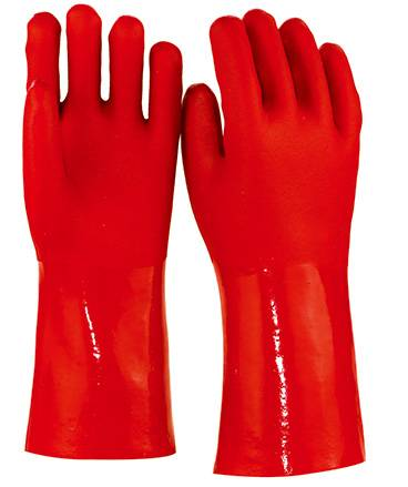 35cm red sandy finished PVC working safety gloves