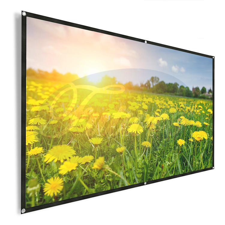 Projector Screen, 92 Inch 16:9 HD Foldable Screen with Sticky Hooks and Ropes