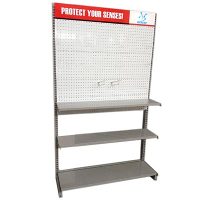 Pegboard shelving with printing header