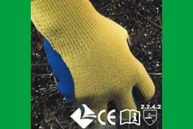Kevlar knitting gloves veined blue Latex coated on palm