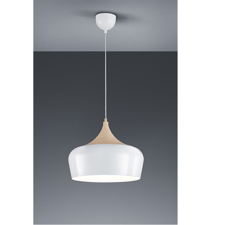 CE Hanging Pendant lamps with metal and wood shad e and E26 E27