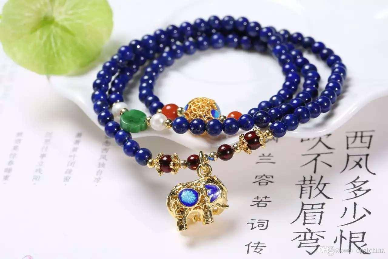 NEFFLY Natural Blue lapis lazul925 Sterling Silver 5mm European Asian Style Beaded Strands Bracelets