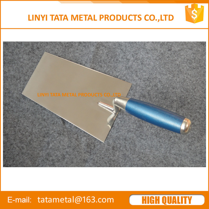 Bricklaying trowel with stainless steel blade