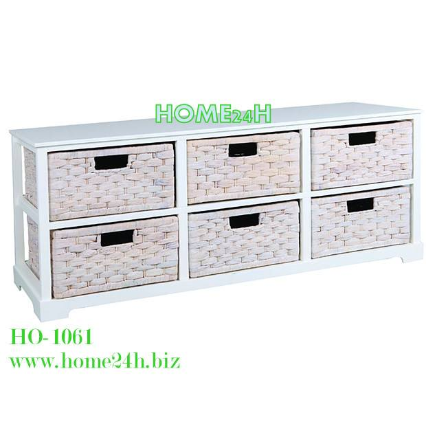Water Hyacinth or Seagrass Water Hyacinth Cabinets-6 Drawers