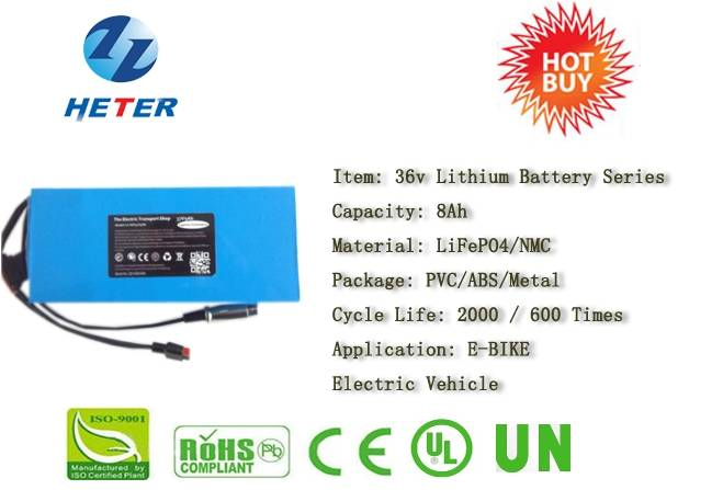 36v8Ah E-Bike Lithium Battery; EV/Scooter/Moped Battery; LiFePO4/NMC Battery Series; 36v Li-ion Bat