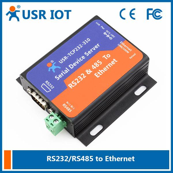 Serial RS232/RS485 to Ethernet TCP/IP Server with DHCP