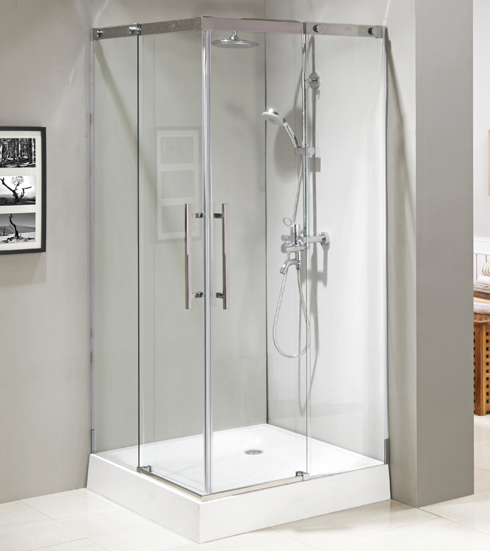 Stainless steel #304 frame sliding tempered glass design shower enclosure with S.S. handle