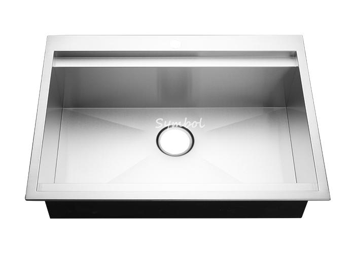 Topmount Single Handmade Kitchen Workstation Sink With Ledge