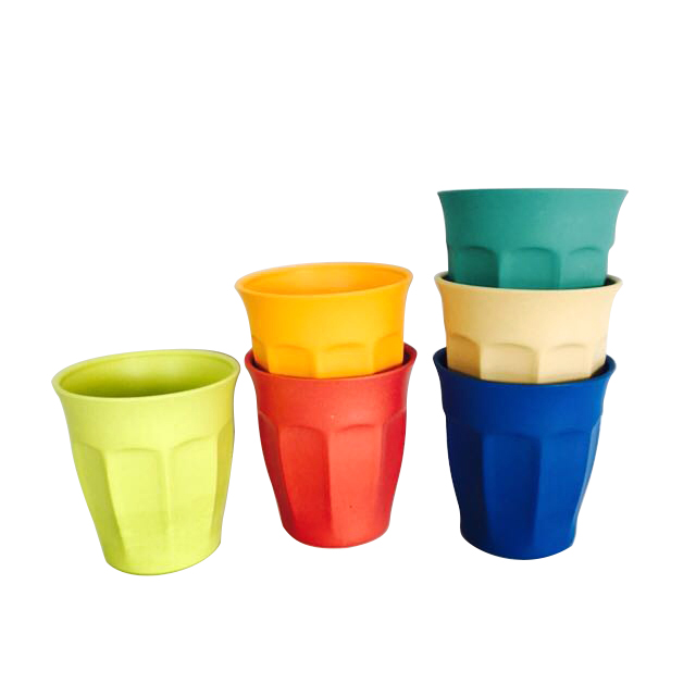 BPA Free Biodegradable 250ML Colorful Cup Bamboo Fiber Coffee Mugv