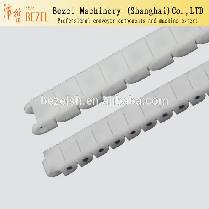 Flat top straight run white conveyor chain