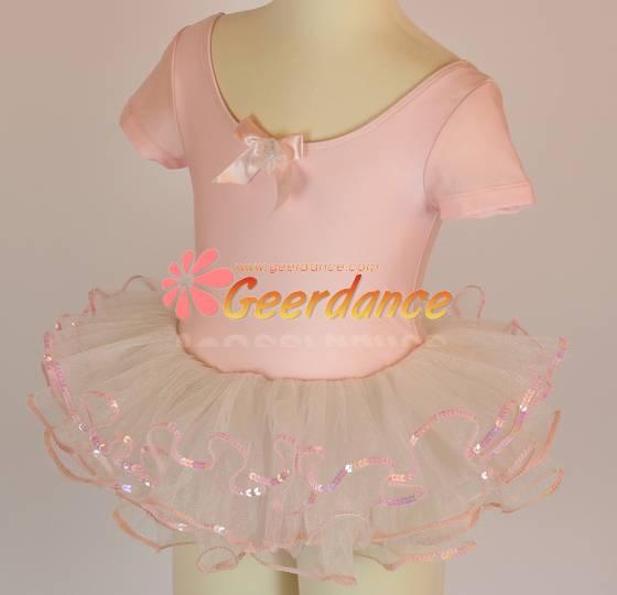 High quality! Short Sleeves Bow Front , Children Ballet Leotard Tutu 15S0014