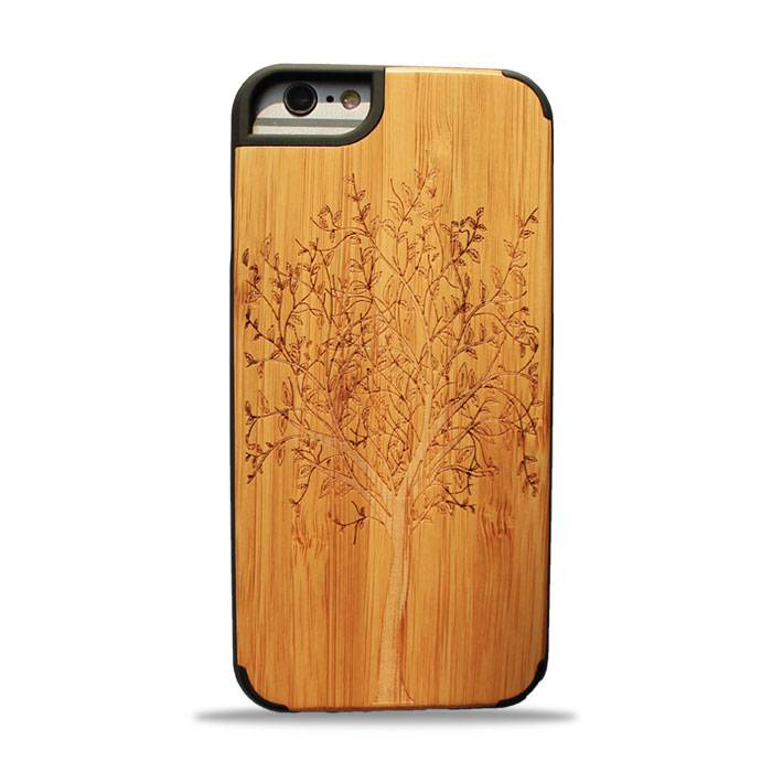 New design premium wood phone case solid phone protective cord back high quaility Iphone6/6P Wisdom