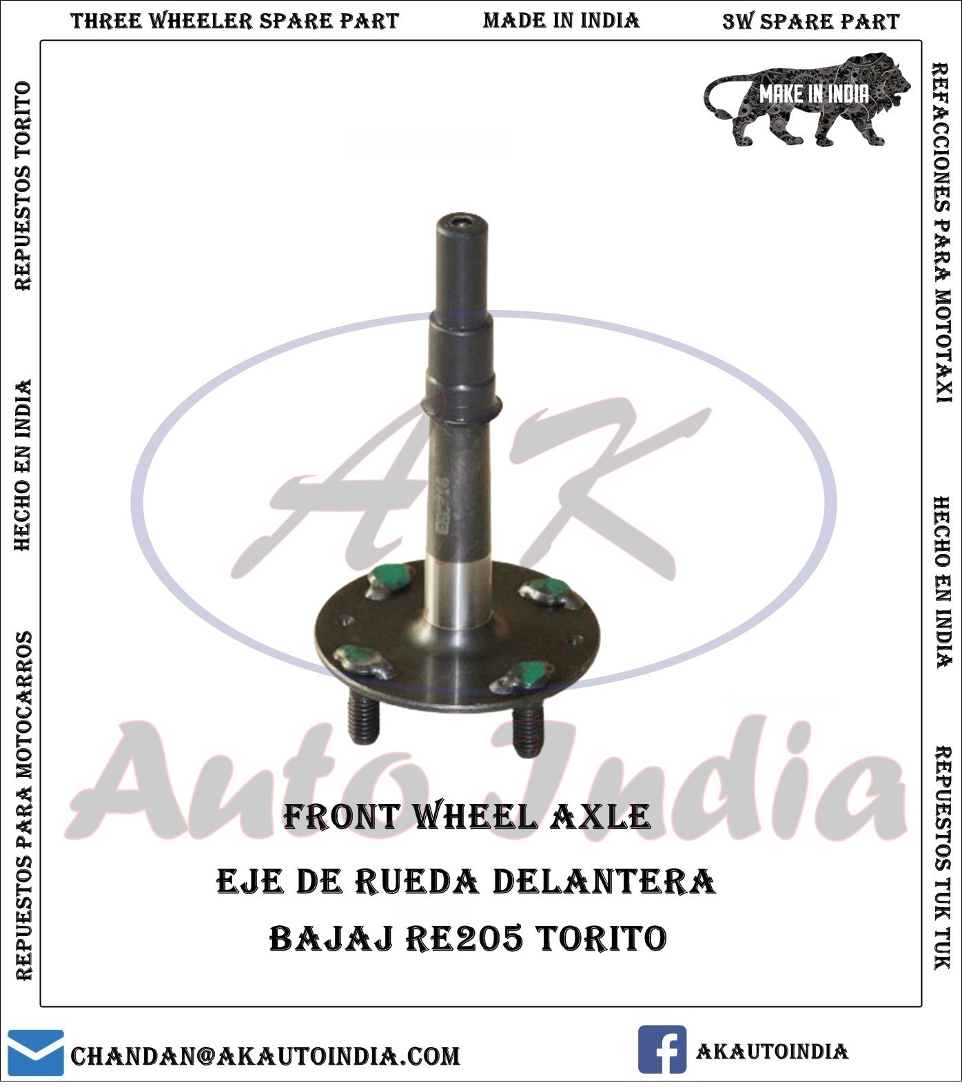 FRONT WHEEL AXLE BAJAJ THREE WHEELER - A.K Auto India