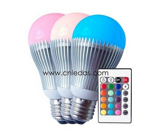 5W IR Remote Controlled RGB LED Mood Lights, E27/E26/B22 Base Type, CE, UL and CUL Certified