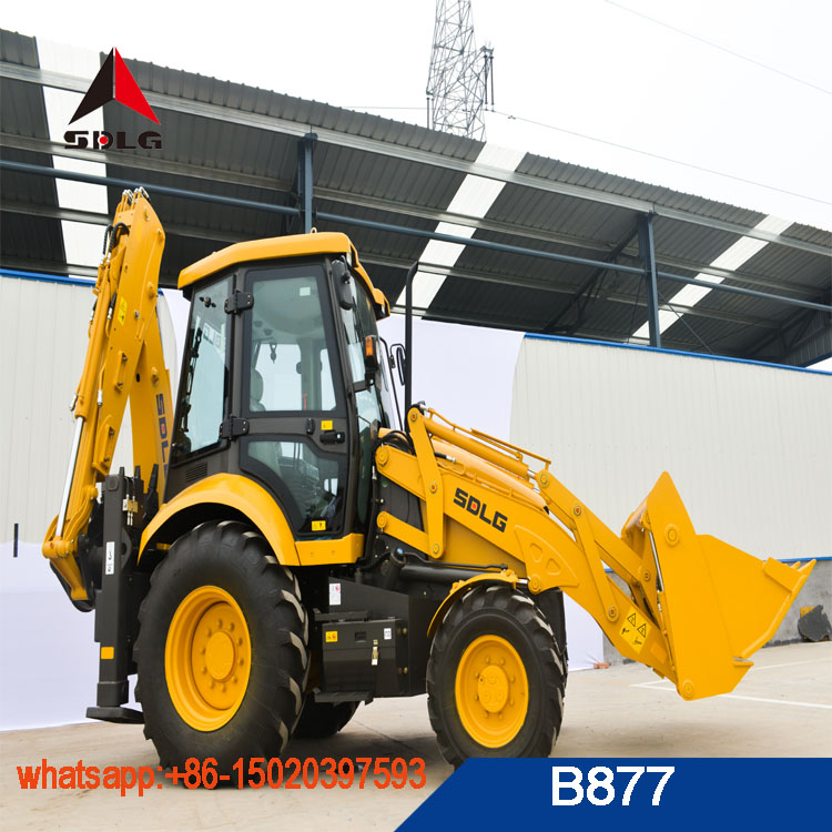 8 ton backhoe loader SDLG brand B877 construction machinery for gold mining used earth moving loader