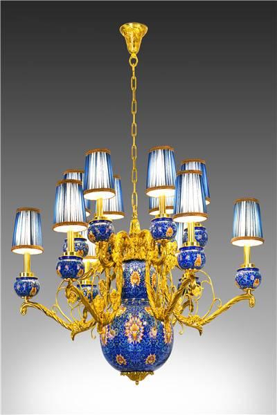 """""""Fluke Treasure Light"""" Cloisonne Ceiling Lamp"""