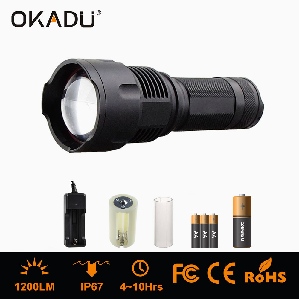 OKADU ZT09 Most Powerful AA / 26650 Battery Focus Torch 1200Lumens Cree XL T6 Zoomable Flashlight