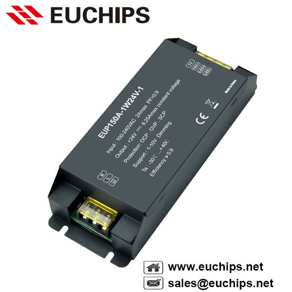 100-240VAC 150W 1 channel 1-10V constant voltage led dimmable driver EUP150A-1W24V-1